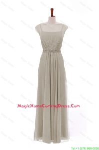 Simple Bateau Grey Long Homecoming Dresses with Beading and Sashes