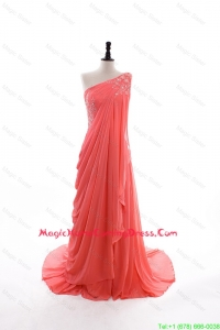 2016 Fall Empire One Shoulder Brush Train Homecoming Dresses in Watermelon