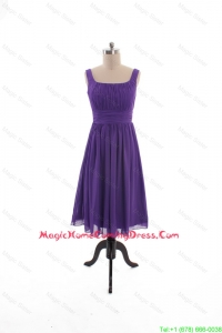 2016 Fall Perfect Square Short Homecoming Dresses with Belt in Purple