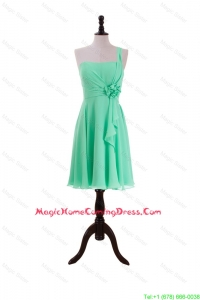 2016 Summer Apple Green Homecoming Dresses with Hand Made Flower and Ruffles