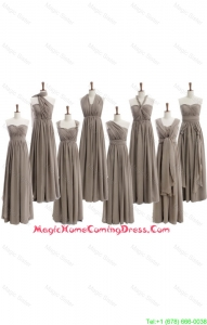 Cheap 2016 Empire Grey Long Homecoming Dresses with Ruching