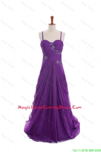 Cheap Appliques and Beading Eggplant Purple Homecoming Dresses with Sweep Train