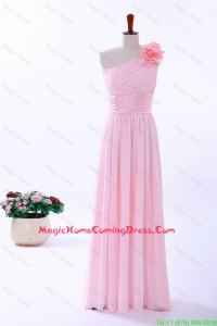 Custom Made Empire One Shoulder Hand Made Flowers Homecoming Dresses in Baby Pink