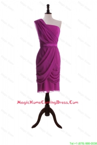 Custom Made Ruching and Belt Short Homecoming Dresses in Fuchsia
