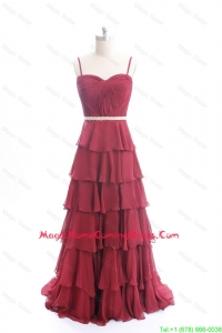 Exclusive Brush Train Belt and Ruffled Layers Homecoming Dresses in Wine Red