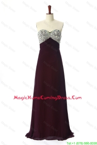 Fashionable 2016 Sweep Train Brown Homecoming Dresses with Beading