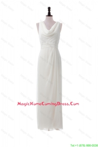 Fashionable Empire V Neck Long Homecoming Dresses in White