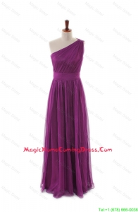 Luxurious One Shoulder Pleats and Belt Long Homecoming Dresses