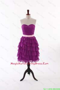 Discount Short Homecoming Dresses with Bowknot and Ruffled Layers