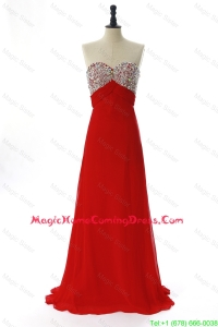 Exquisite 2016 Winter Beading Red Homecoming Dresses with Sweep Train