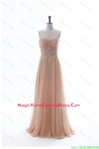 Most Popular Beading Long Homecoming Dresses in Peach for 2016 Summer