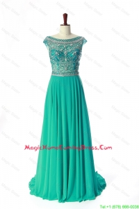 New Style Bateau Beading Brush Train Homecoming Dress in Turquoise