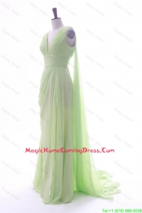 Romantic Empire V Neck Ruching and Pleats Homecoming Dresses with Watteau Train