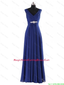 Simple V Neck Beading and Ruching Long Homecoming Dresses for 2016 Autumn