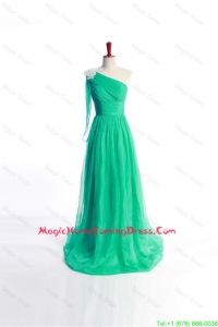 Vintage Appliques Green Long Homecoming Dress with Sweep Train for 2016