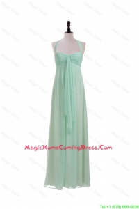Vintage Halter Top Mint Long Ruching Homecoming Dresses for 2016 Summer