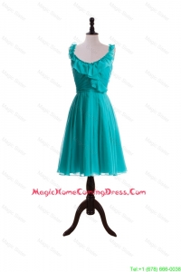 2016 Summer A Line Scoop Homecoming Dresses with Paillette in Turquoise