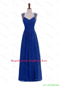 Custom Made Empire Straps Beaded Homecoming Dresses in Blue for 2016
