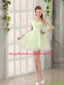 2016 Fall A Line Strapless Short Homecoming Dresses with Ruching