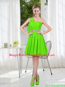 2016 Short One Shoulder Homecoming Dresses with Beading