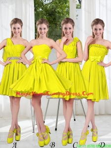 2016 Summer Simple One Shoulder Homecoming Dresses in Yellow Green