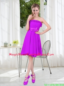 A Line Strapless Bowknot Short Homecoming Dresses