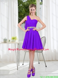 Custom Made A Line One Shoulder Belt Short Homecoming Dress