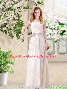 Discount Empire One Shoulder Champagne Homecoming Dresses with Belt