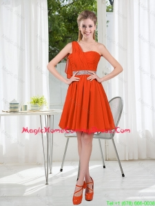 Rust Red One Shoulder Homecoming Dresses with Beading and Belt