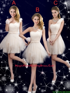 Classical Belt One Shoulder Homecoming Dresses in Champagne