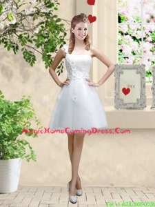 Discount One Shoulder Appliques Homecoming Dresses in White