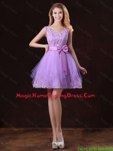 Discount V Neck Tulle Homecoming Dresses with Bowknot