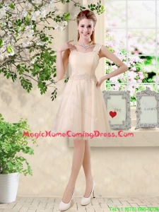 Modern Straps Short Appliques Homecoming Dresses in Champagne