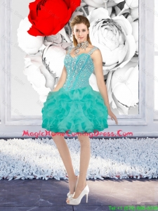 Sexy Ball Gown Beaded Homecoming Dresses with Straps in Turquoise