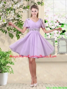 Simple A Line V Neck Beaded Homecoming Dresses in Lavender