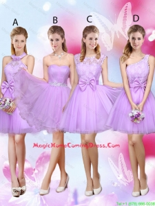 Sophisticated A Line Lavender Homecoming Dresses with Lace and Bowknot