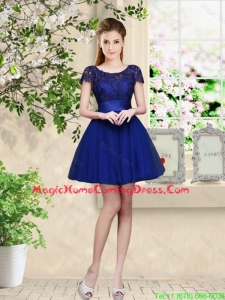Sturning Bateau Short Royal Blue Homecoming Dresses with Cap Sleeves