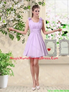Suitable A Line Straps Homecoming Dresses with Hand Made Flowers