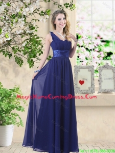 Wonderful Ruched Navy Blue Homecoming Dresses with V Neck