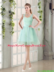 2016 Custom Made A Line Straps Homecoming Dresses with Ruching
