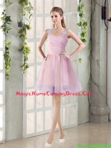 2016 Fall New A Line Straps Homecoming Dresses with Hand Made Flowers