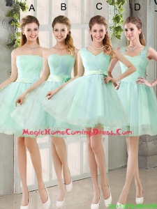2016 Spring A Line Ruching Homecoming Dresses with Belt in Apple Green