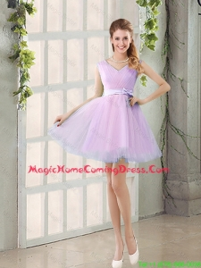 2016 Summer V Neck Strapless Homecoming Dresses with Bowknot