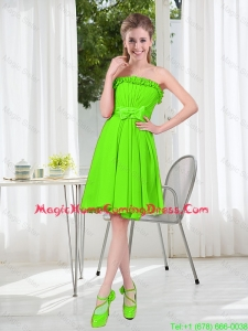 A Line Strapless Bowknot Custom Made Homecoming Dresses in Spring Green
