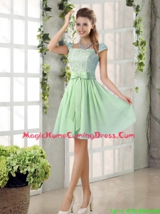 Affordable Square Lace Homecoming Dresses with Bowknot