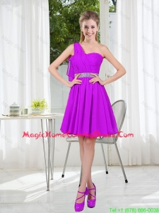 Custom Made A Line One Shoulder Homecoming Dress with Belt