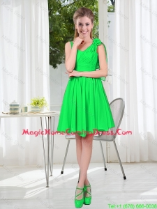 Elegant A Line Straps Green Homecoming Dresses with Hand Made Flowers