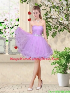 Simple A Line Strapless Lavender Homecoming Dresses with Belt