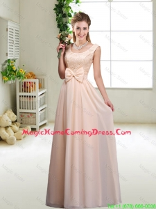 Perfect Bowknot Scoop Homecoming Dresses in Champagne