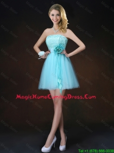 Cheap Lace Short Homecoming Dresses in Aqua Blue
